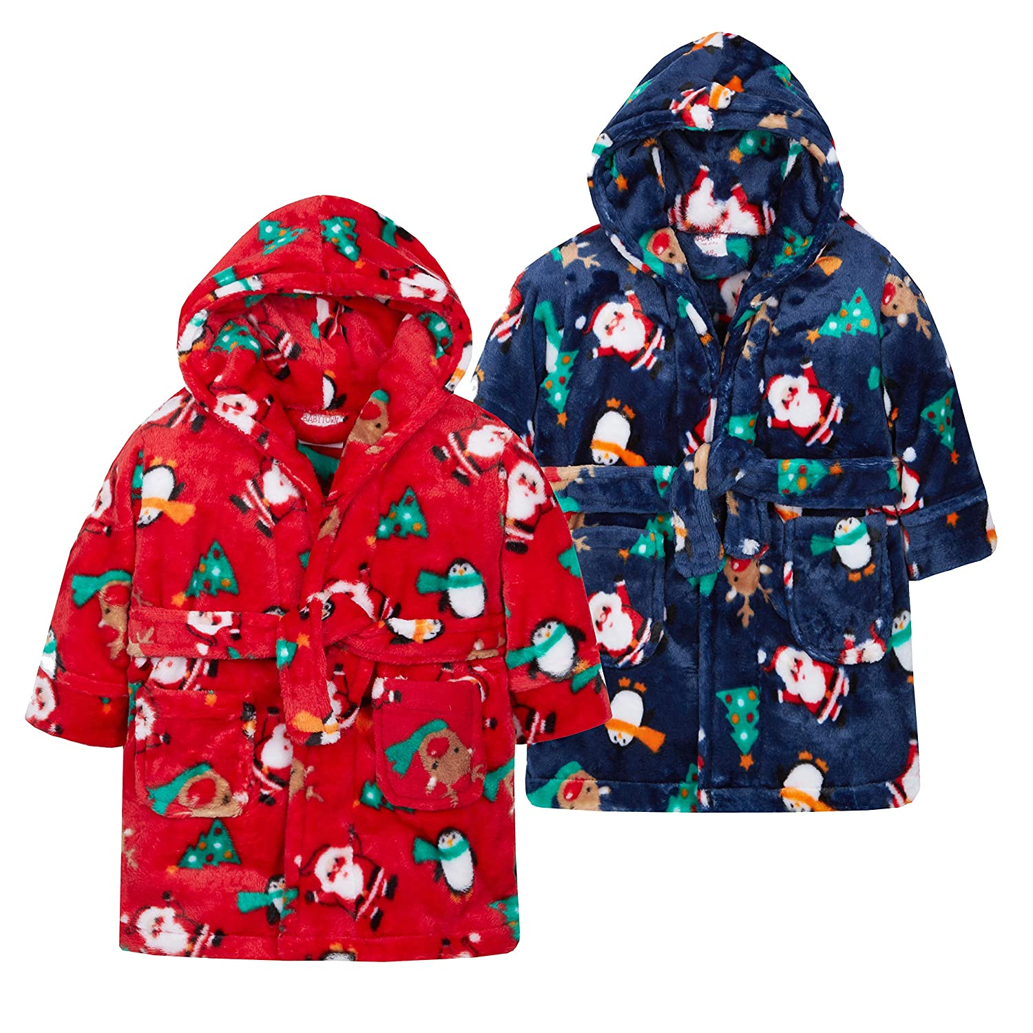 Babytown Baby Boys & Girls Hooded Christmas Dressing Gowns