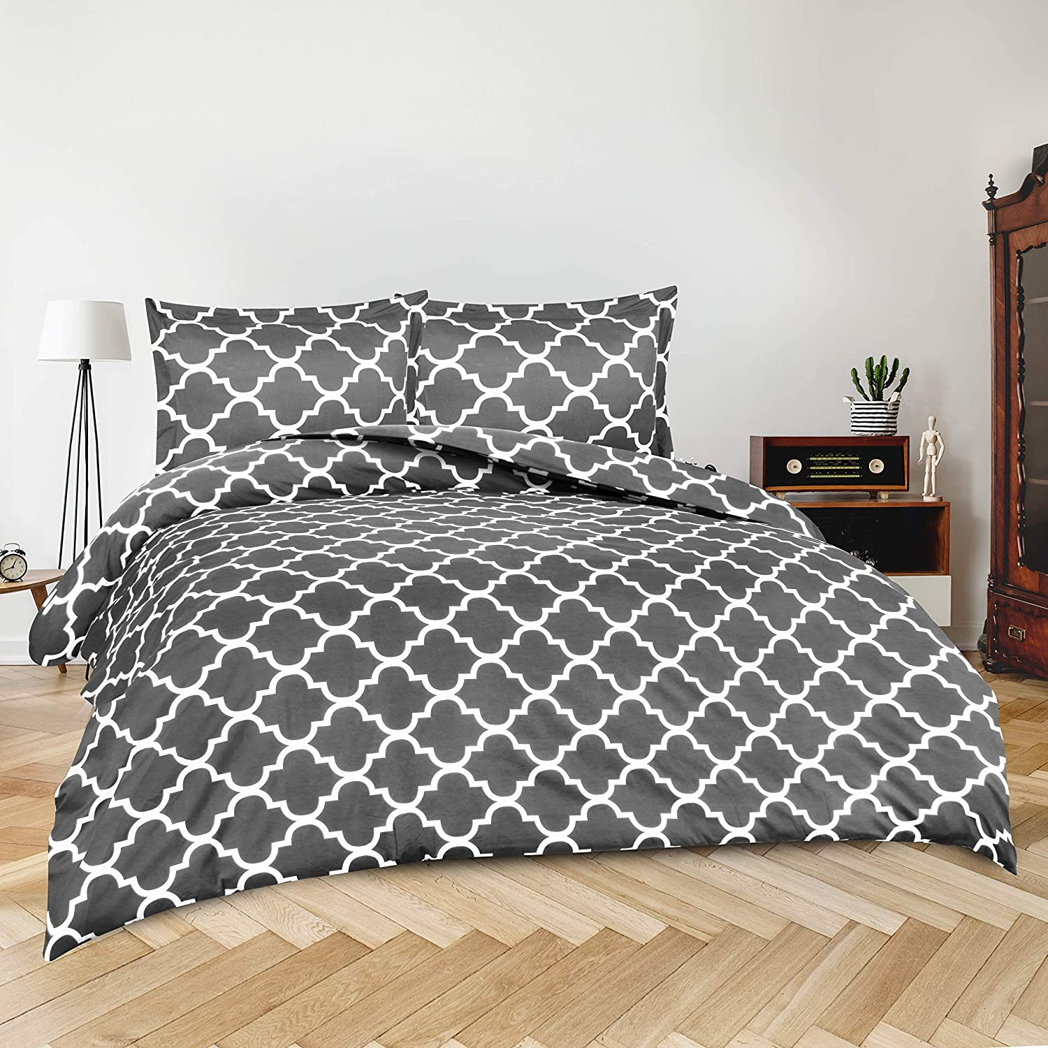 Utopia Bedding 3pc Duvet Cover with 2 Pillow Shams (King, Printed Grey)