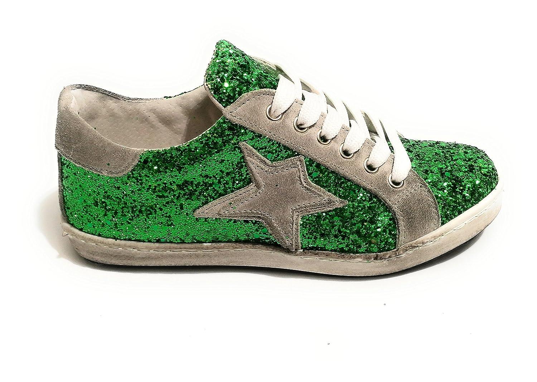 TONY WILD Zapatillas de Piel Para Mujer Glitter Verde/Grigio 37 EU
