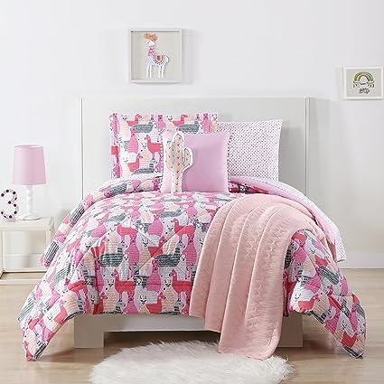 Amazon.com: Laura Hart Kids 3-Piece Comforter Set, Full/Queen, Llama ...