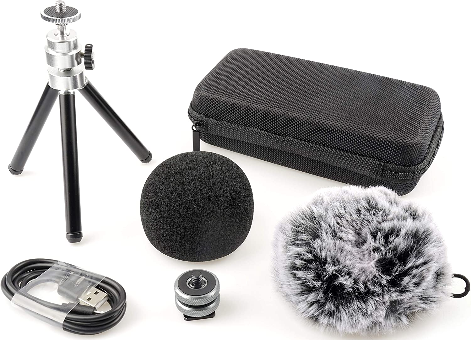Hotshoe Mount Includes Windscreen Smangto MP-1N Accessory Pack for Zoom H1N TASCAM DR-05X Portable Recorder Micro USB Cable Tripod Case Deadcat