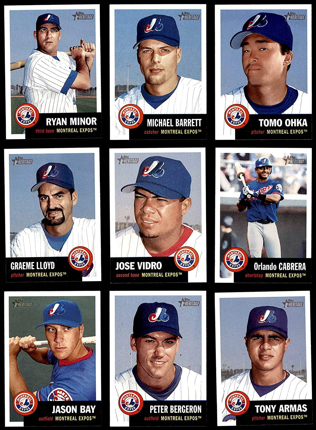 2002 Topps Heritage Montreal Expos Team Set Montreal Expos (Baseball Set) Dean's Cards 8 - NM/MT Expos 91LtvKxlyvL