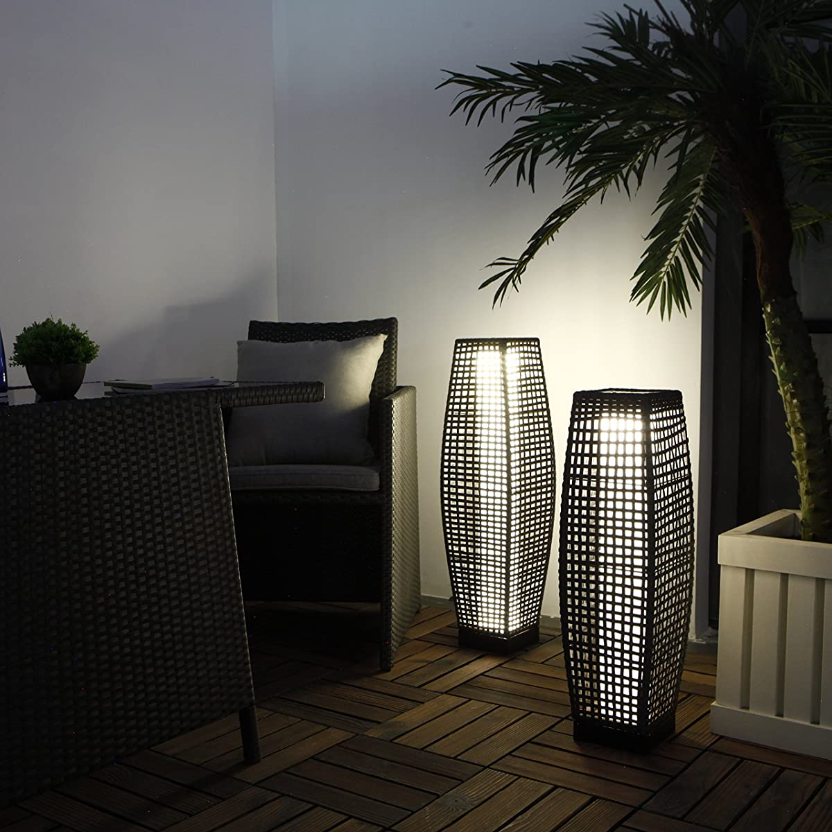 Grand Patio Super Bright Outdoor Floor Lamp Large-Sized, Solar Powered Lamp Light, Weather–Resistant Rattan Floor Lamp for Patio, Deck, Path and Garden