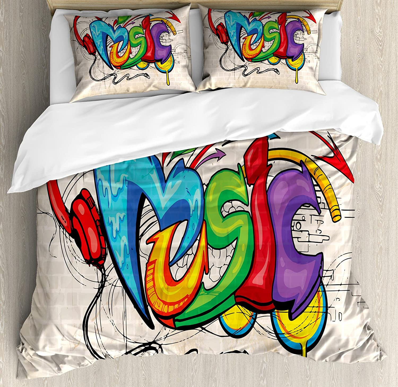 Ambesonne Music Duvet Cover Set, Illustration of Graffiti Style Lettering Headphones Hip Hop Theme on Beige Bricks, Decorative 3 Piece Bedding Set with 2 Pillow Shams, King Size, Tan Green