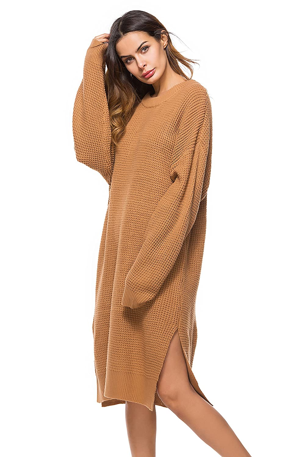 97533542b3d Mingnos Women s Plus Size Crewneck Long Baggy Chunky Knit Pullover Sweater  Dress  Amazon.ca  Clothing   Accessories