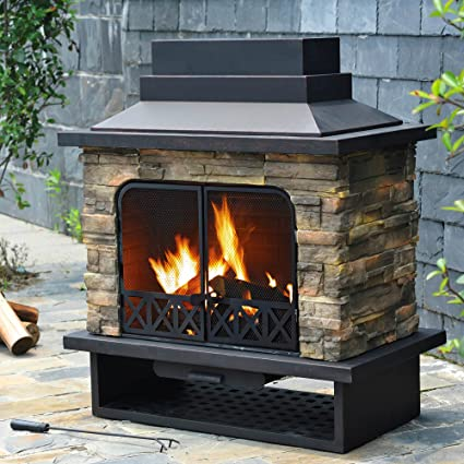 amazon com outdoor fireplace faux stone steel wood burning modern rh amazon com