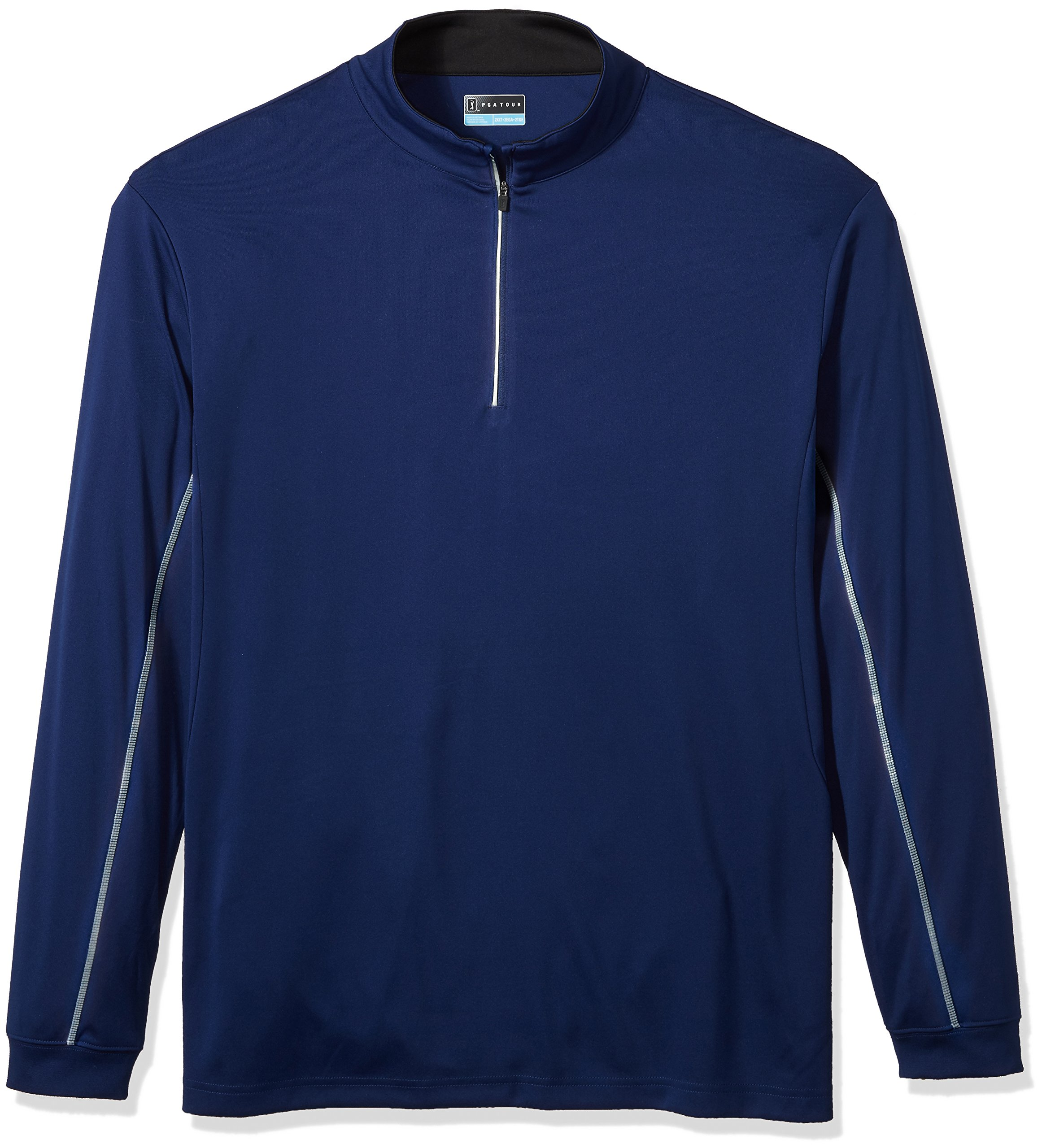 PGA TOUR Men's Big and Tall Elements Wr Long Sleeve 1/4 Zip Pullovers, Blue Depths_PVKF70E2, 3XLT