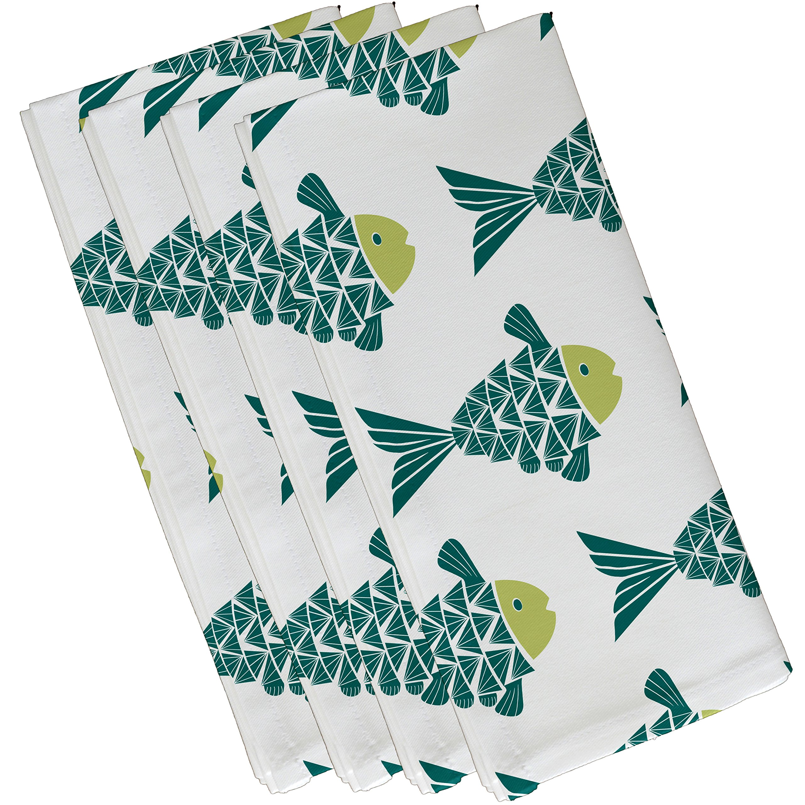 E by design Fish Tales, Animal Print Napkin, 19 x 19'', Teal