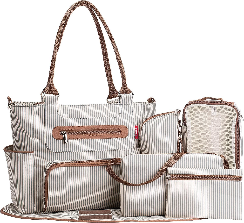 Amazon.com: SoHo Grand Central Station Diaper Bag 7Pc, Striped: Shoes