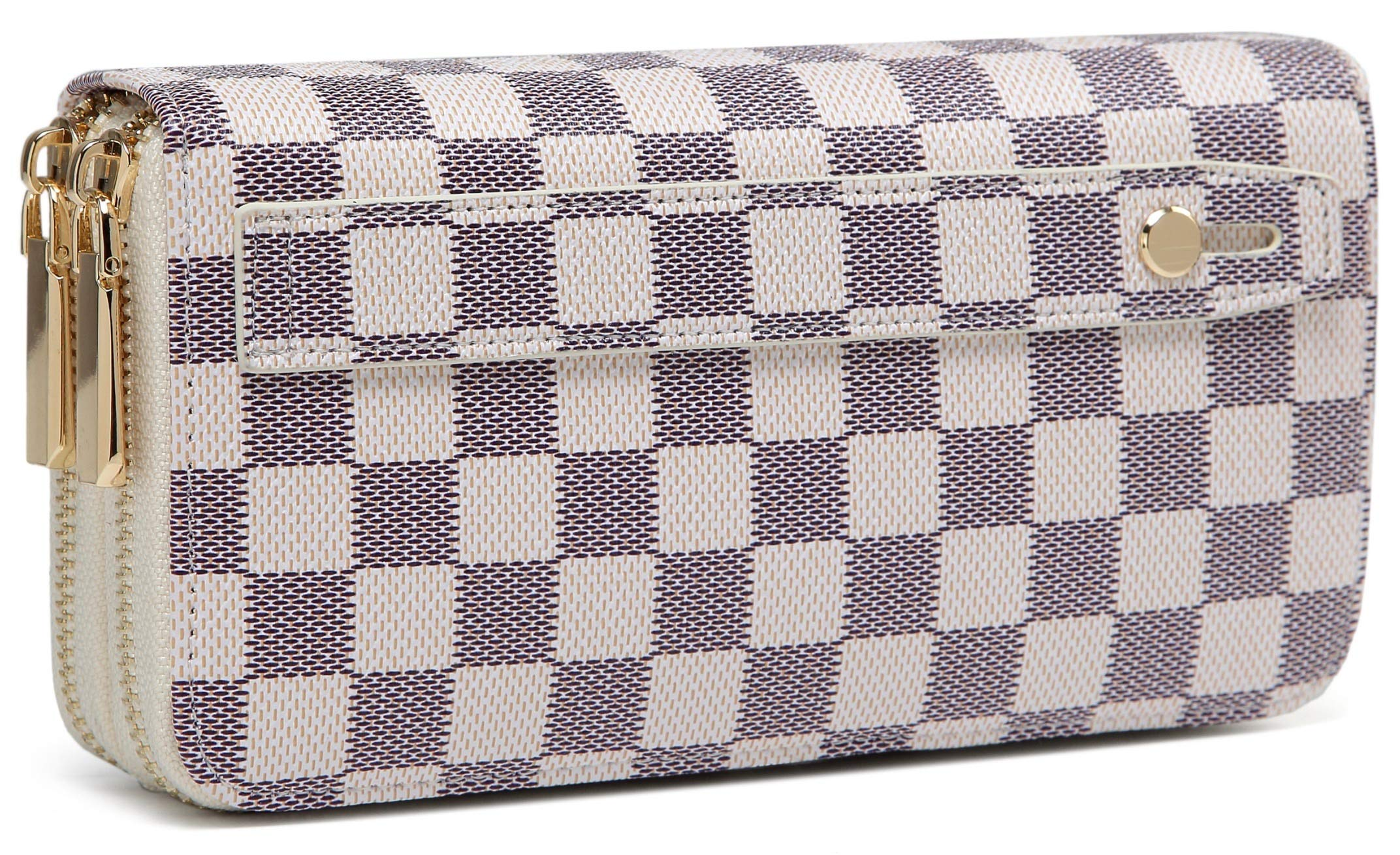 Daisy Rose Dual Zip Wallet-RFID Checkered Hand Strap Clutch- PU Vegan Leather