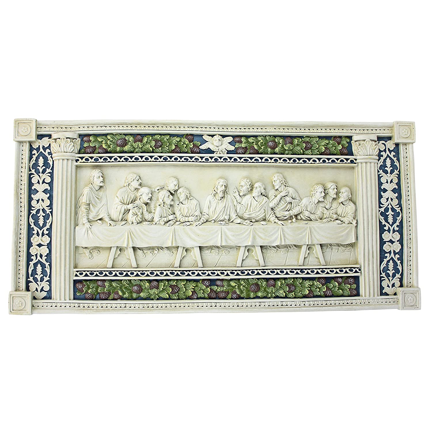 Design Toscano The Last Supper Religious Wall Frieze Sculpture, 58 cm, Polyresin, Antique Stone KY11448