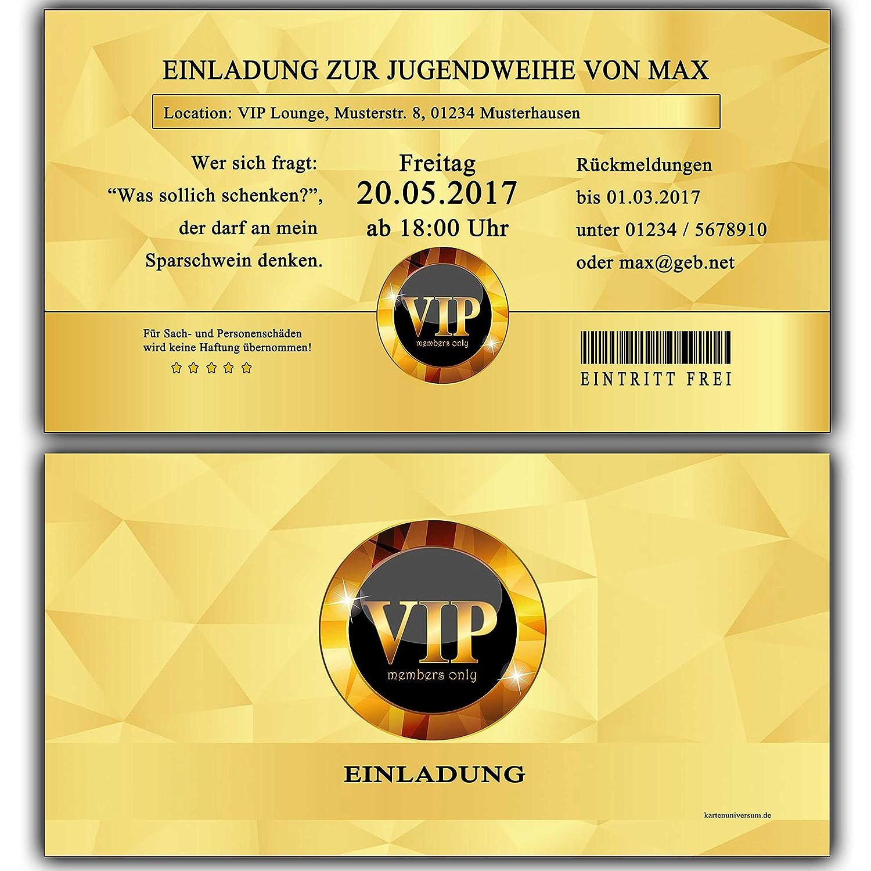 Einladungskarten zur Jugendweihe Einladung Jugendweihekarten für für für Jungen & Mädchen inkl Ihres Namen & Daten personalisiert in Gold VIP - 30 Stück Einladungskarte Jugendweiheeinladungen Einladungen B01M4GNL7Y | Sonderkauf  | Moderater Preis 4b2353