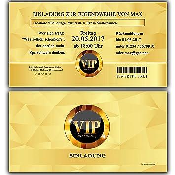 Einladungskarten Zur Jugendweihe Einladung Jugendweihekarten Für Jungen Mädchen Inkl Ihres Namen Daten Personalisiert In Gold Vip 90 Stück
