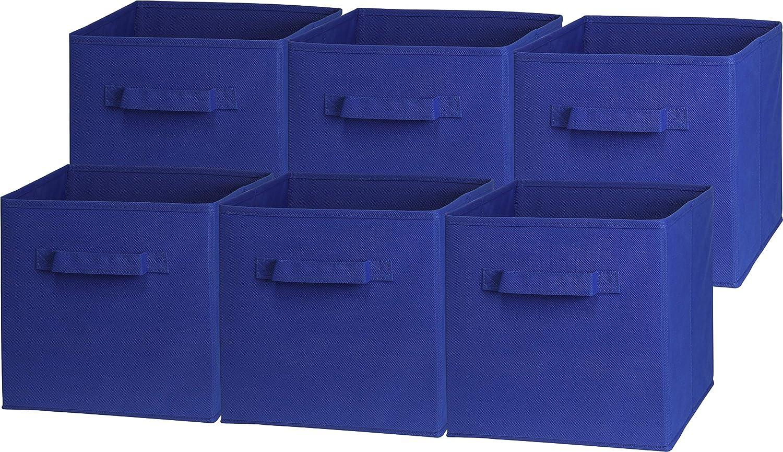 6 Pack - SimpleHouseware Foldable Cube Storage Bin, Dark Blue