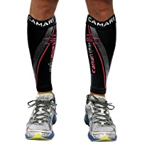 Camari Gear Compression Sleeve (1 PAIR) - For Shin Splints, Calf Strains, Sports Recovery - Leg Socks For Men and Women - Black - Calf Guard for Running, Marathon, Rugby, Walking, Tennis, Golf, Cycling, Maternity, Travel, Nurses, Flight, Gym, Work