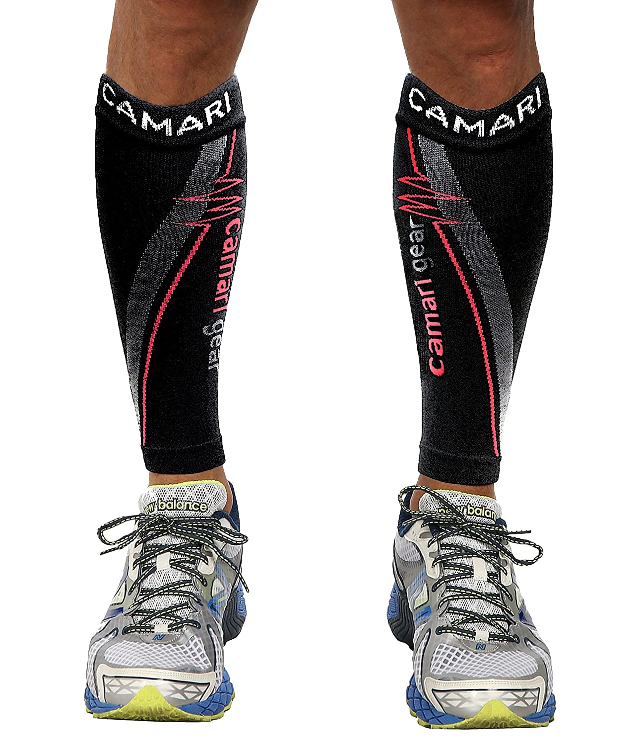 Camari Gear Sports Run and Recover Manchons de Compression pour Les Mollets - Hommes et Femmes - Noir - Compression Sports Calf Sleeves - Black - for Running, Cycling, Triathlon, Crossfit, Gym