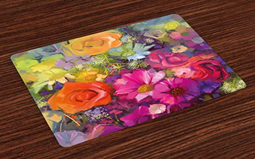 dining table decor ideas.htm amazon com ambesonne floral place mats set of 4  vibrant flower  amazon com ambesonne floral place mats