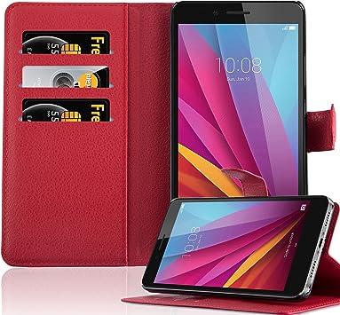 Cadorabo Funda Libro para Honor 5X / Play 5X / Huawei GR5 en Rojo ...