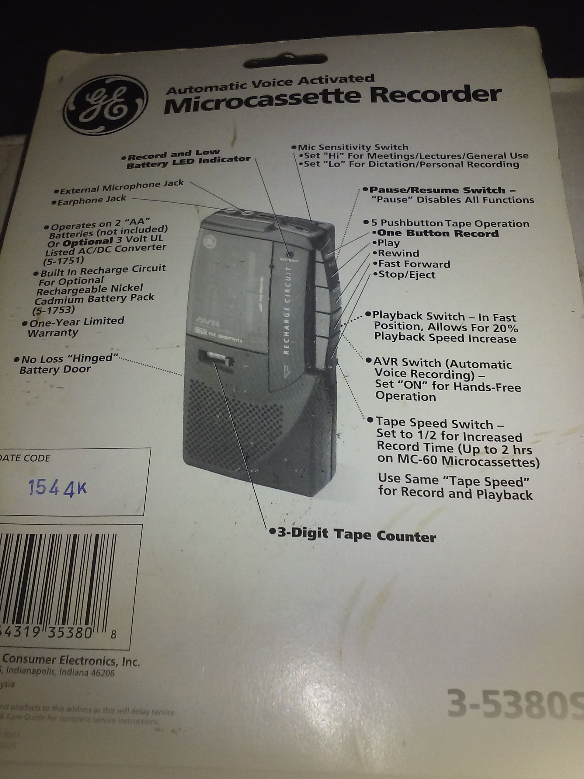GE Automatic Voice Activated Microcassette Recorder, Model 3-5380s