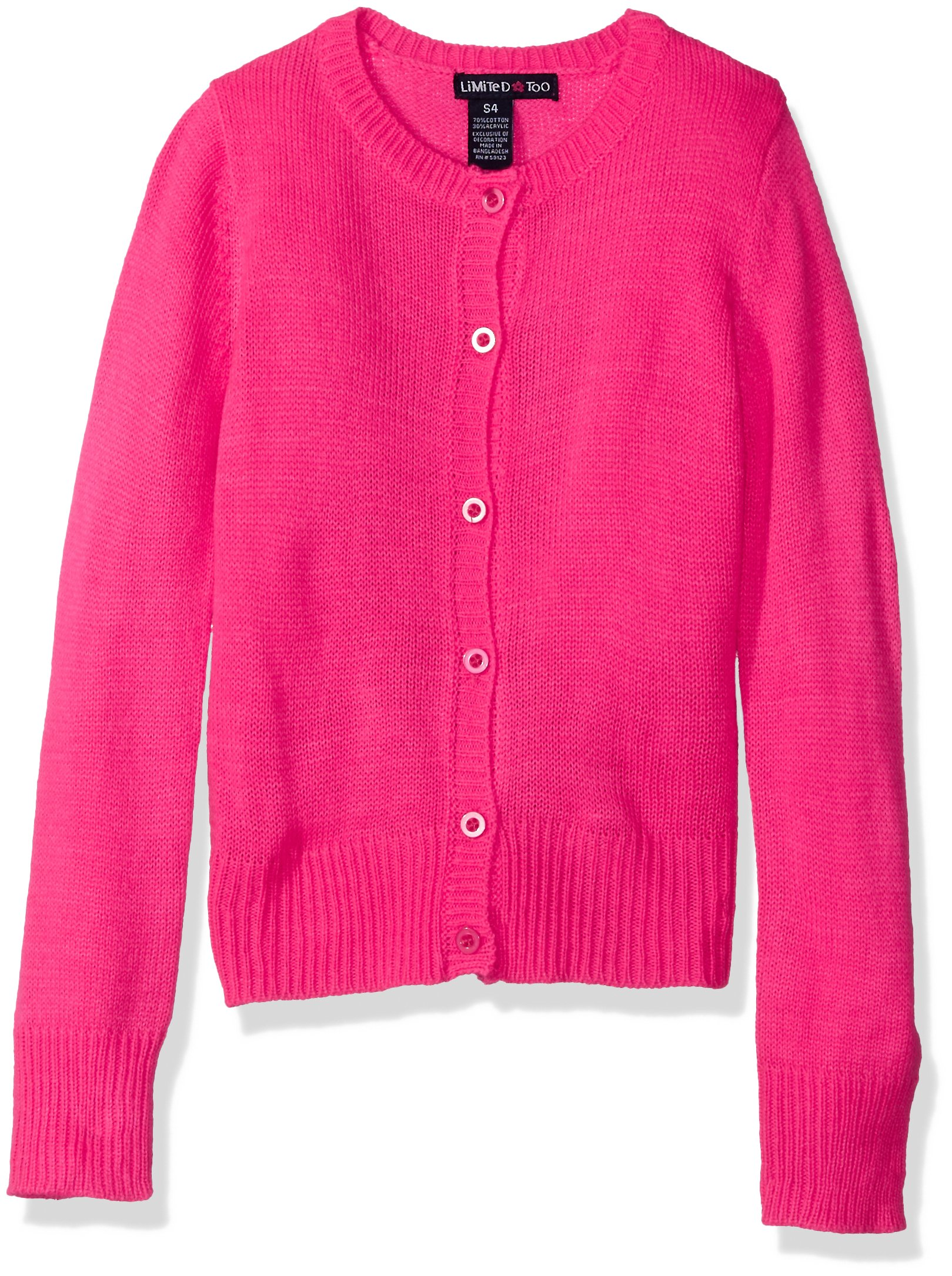 Limited Too Big Girls' Cardigan Sweater, Neon Hot Pink, Large 14/16