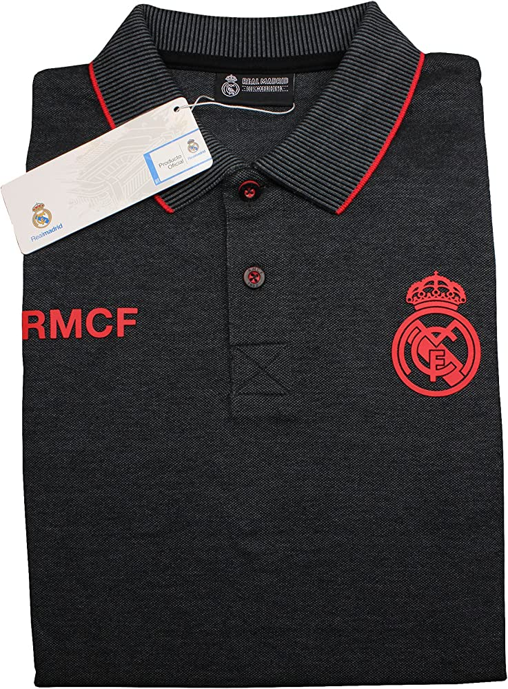 Real Madrid FC Polo Oficial Hombre Negro/Rojo (XXXL): Amazon.es ...