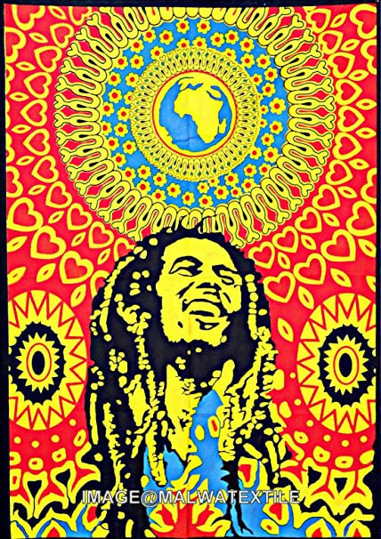 Amazon.com: Bob Marley Cotton Wall Hanging Tapestry Poster Wall ...