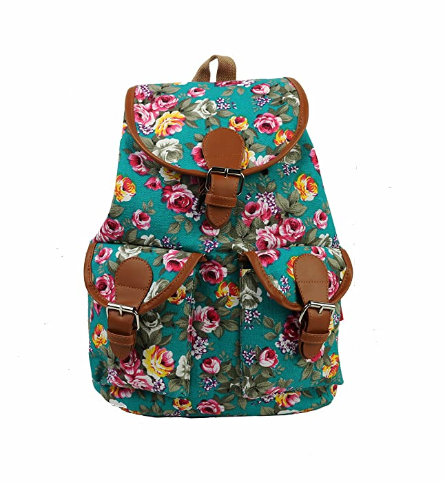 Vintage Women's Canvas Travel Satchel Shoulder Bag Rucksack-FLORAL ...