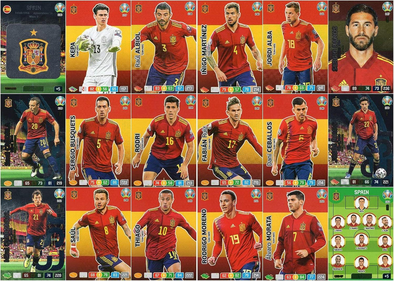 18 Panini Adrenalyn XL UEFA Euro 2020 Complet Eighteen Euros Carte Espagne /Équipe Ensemble