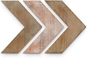 "Barnyard Designs Rustic Farmhouse Chevron Arrows Wood Wall Decor 14.25"" x 11.25"" (Set of 3)"