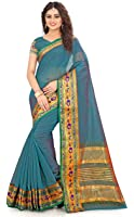 Royal Export Cotton Silk Saree With Blouse Piece (S1_Blue_Free Size)