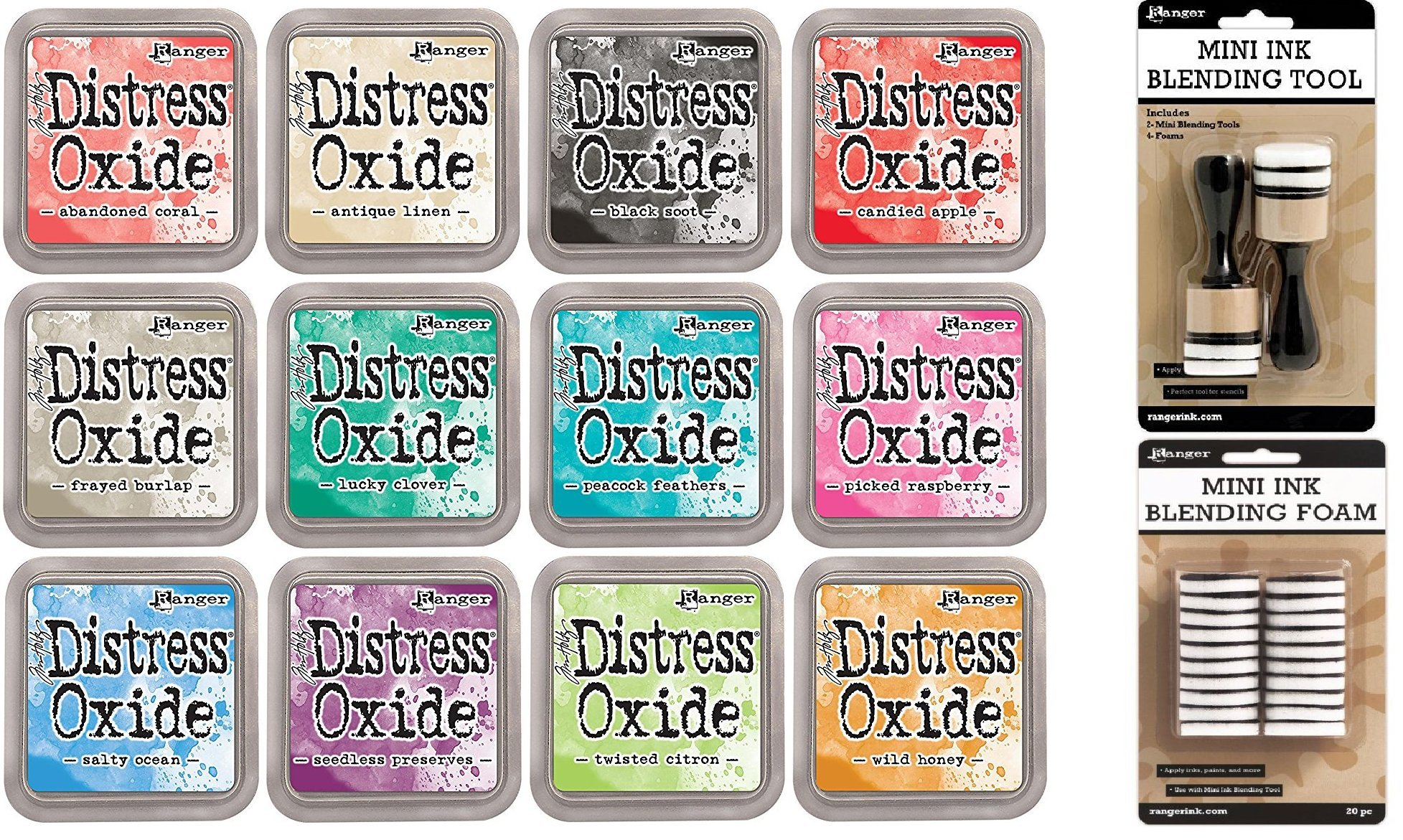Tim Holtz Distress Oxide Ink Pads Set of 12 and Mini Ink Blending Tools Round with Replacement Foams