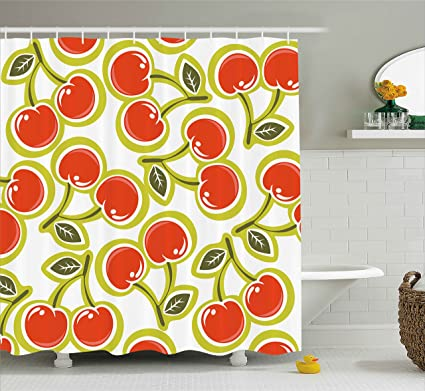 Ambesonne Fruit Shower Curtain Sweet Yummy Ornate Cherry And Leaves Pattern Fresh Food Fun Art