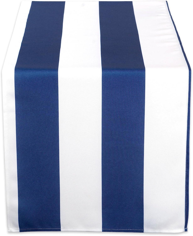 DII CAMZ38848 Nautical Blue Cabana Stripe Outdoor Table Runner, 14x72