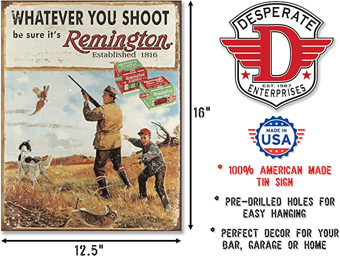 Remington First In The Field Metal Tin Sign Vintage type Gun Hunting Embossed