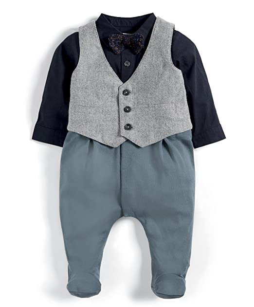 Mamas & Papas Waistcoat Mock All In One, Pelele para Bebés, Verde (Green
