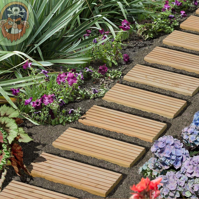 Gartenpirat - Chemin de jardin en bois 25x250 cm dalles de jardin ...