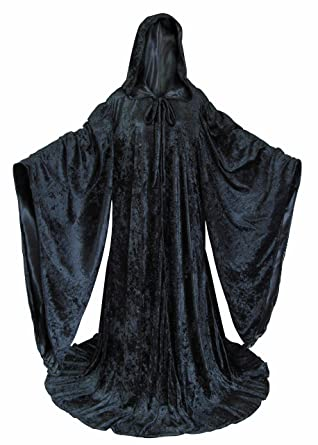 amazon com velvet cosplay wizard robe with satin lined hood and