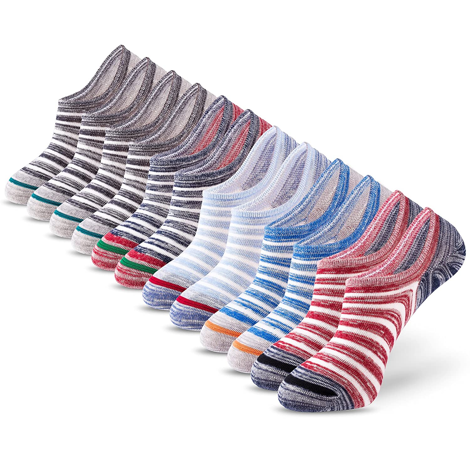 No Show Socks Mens IDEGG Men's Cotton Casual Low Cut Anti-slid Athletic Socks with Non Slip Grip