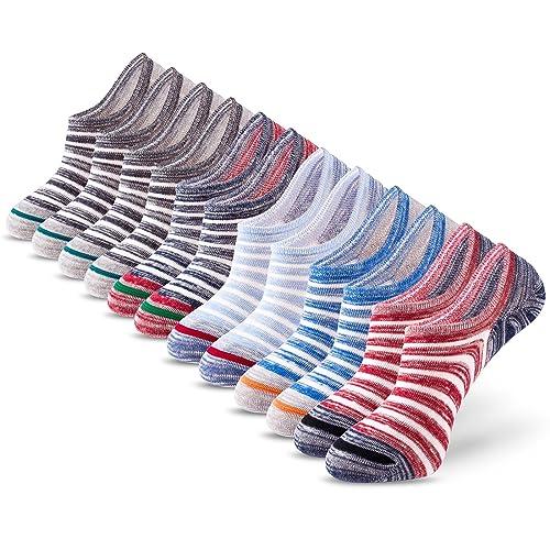 6 Pairs No Show Socks Mens IDEGG Men's Cotton Casual Low Cut Anti-slid Athletic Socks with Non Slip Grip