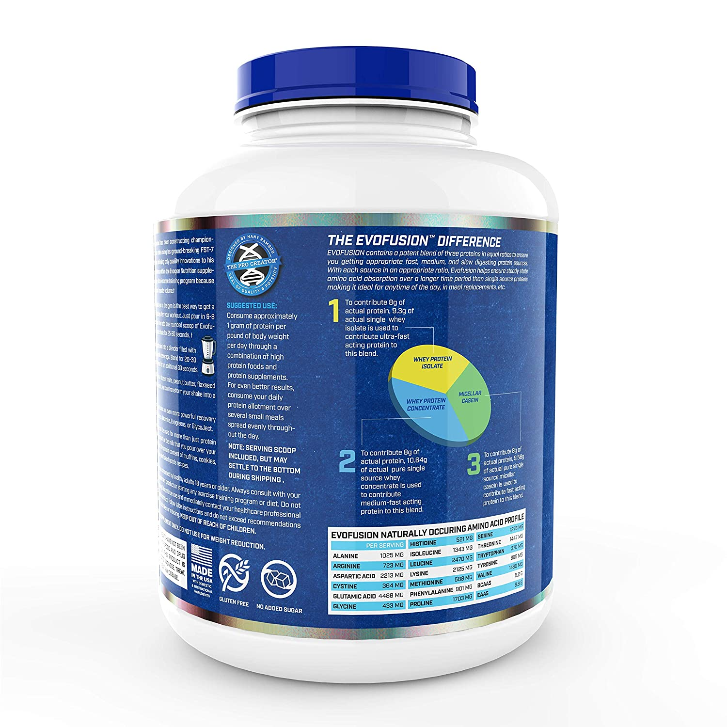 Evogen Evofusion Premium Sustained Protein Matrix, Whey Isolate, Whey Concentrate Micellar Casein, Digestive Enzymes 52 Servings Vanilla