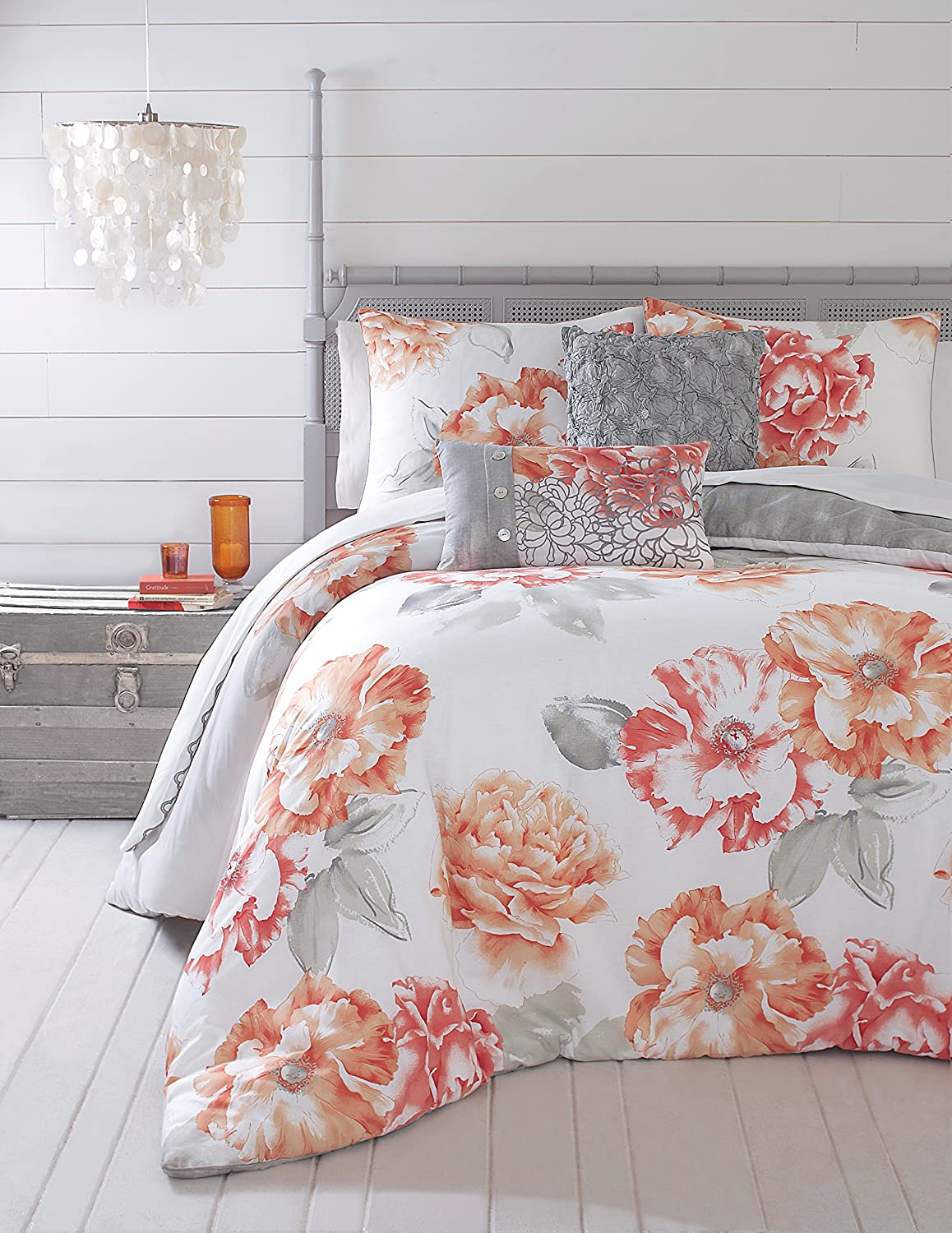 Jessica Simpson 3-Piece Golden Peony Comforter Set, King, Coral