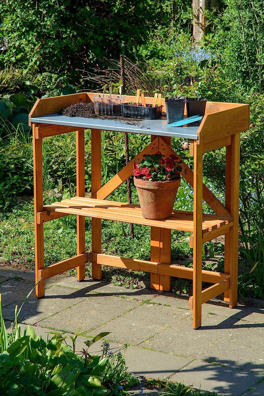 dobar 29053 - Mesa para macetas Plegable (Madera de Pino FSC, Plegable, 85 x 44 x 89 cm): Amazon.es: Jardín