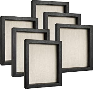 Yi PF G Star 6 Pack Black Shadow Box Frames| 8x10 Shadow Box Case | Shadow Box Display Memorabilia, Tickets, Wedding Pictures