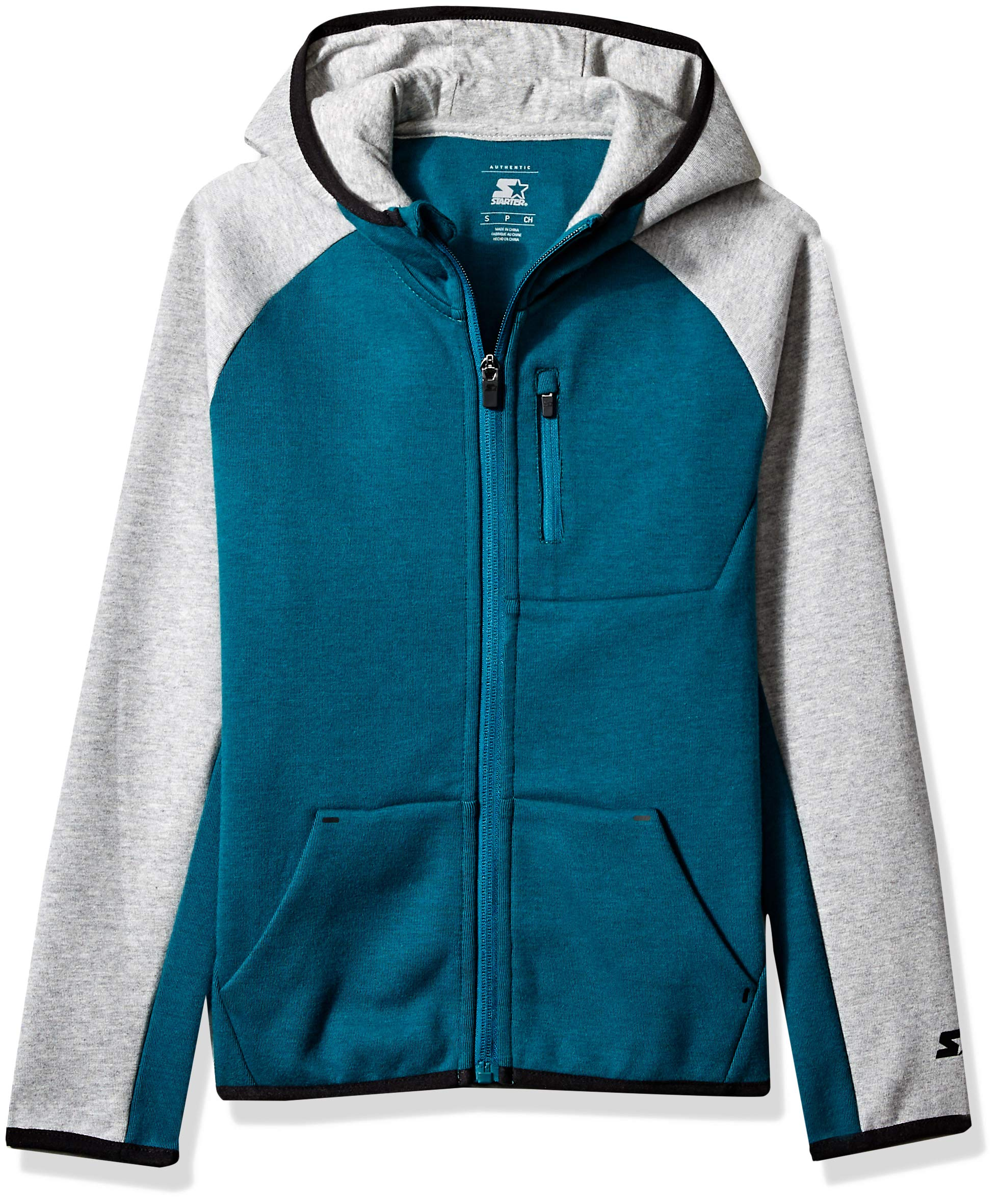Starter Boys' Double Knit Colorblocked Zip-Up Hoodie, Amazon Exclusive, Scuba Green Heather, M