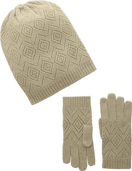 La Fiorentina Women s Cashmere Knit Pointelle Hat and Glove 2 Piece ... bb737a4d819