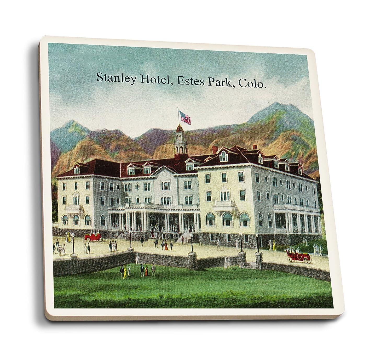 ロッキーマウンテン国立公園、コロラド州 – Exterior View of the Stanleyホテル、Estes公園 4 Coaster Set LANT-24922-CT B01N8WW1M2  4 Coaster Set