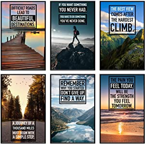 Inspirational Wall Art, Motivational Posters, Wall Art for Office, Inspirational Posters, Motivational Posters For Office, Inspirational Poster for Classroom Decor, Office Wall Art, Set of 6 11x17 in.