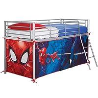 Spider Man Hochbett mit Zelt, Holz, Blue, 86 x 195 x 74 cm
