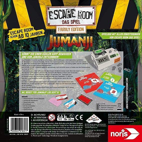 Noris - Juego por Equipos y familias Escape Room Jumanji (Family Edition) para Adultos y niños, Incluye 3 Casos y descodificador de cronógrafo, a Partir de 10 años: Amazon.es: Juguetes y juegos