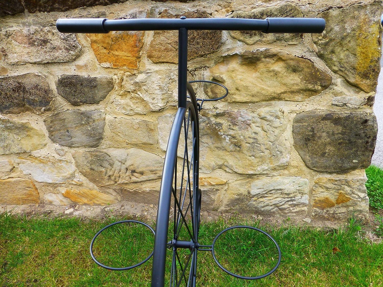 Negro metal Penny Farthing bicicleta soporte de plantas maceta ...